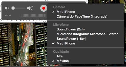 Escolha o iTreco como as origens de Câmera e Microfone