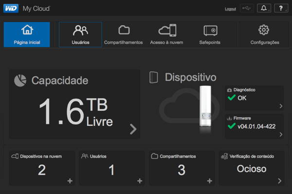 WD My Cloud - Tela inicial