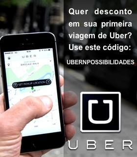 Quer desconto em sua primeira viagem de Uber? Use o código do NPossibilidades! UBERNPOSSIBILIDADES