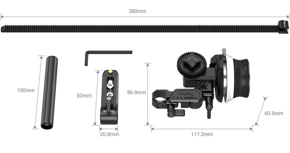 Componentes do kit Follow Focus F40 da Smallrig