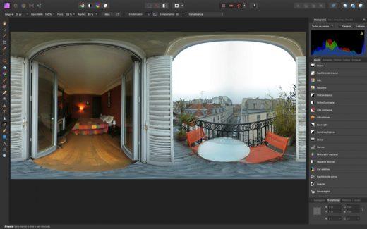 Editando foto 360º no Affinity Photo
